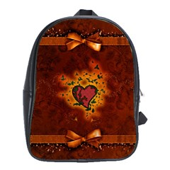 Beautiful Heart With Leaves School Bag (XL)