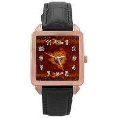 Beautiful Heart With Leaves Rose Gold Leather Watch