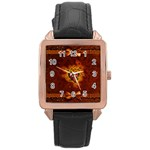 Beautiful Heart With Leaves Rose Gold Leather Watch  Front