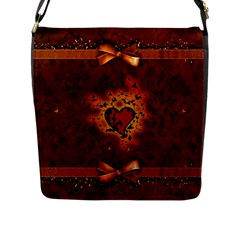 Beautiful Heart With Leaves Flap Closure Messenger Bag (l)