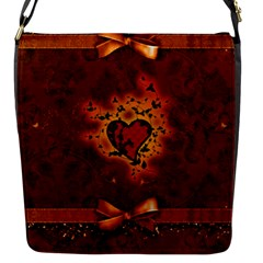 Beautiful Heart With Leaves Flap Closure Messenger Bag (S)
