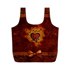 Beautiful Heart With Leaves Full Print Recycle Bag (M)