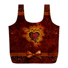 Beautiful Heart With Leaves Full Print Recycle Bag (L)
