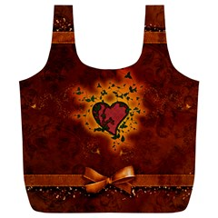 Beautiful Heart With Leaves Full Print Recycle Bag (XL)