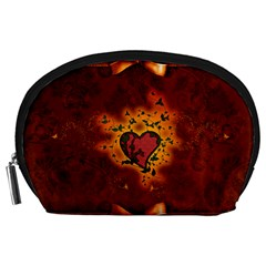 Beautiful Heart With Leaves Accessory Pouch (Large)