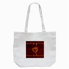 Beautiful Heart With Leaves Tote Bag (White)