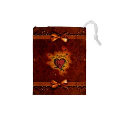 Beautiful Heart With Leaves Drawstring Pouch (Small)