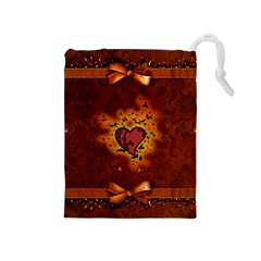 Beautiful Heart With Leaves Drawstring Pouch (Medium)