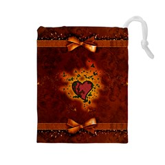 Beautiful Heart With Leaves Drawstring Pouch (Large)