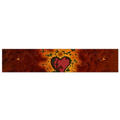 Beautiful Heart With Leaves Small Flano Scarf