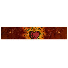 Beautiful Heart With Leaves Large Flano Scarf