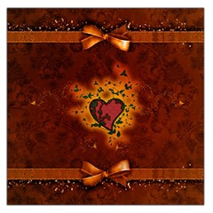 Beautiful Heart With Leaves Large Satin Scarf (Square)
