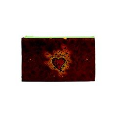 Beautiful Heart With Leaves Cosmetic Bag (XS)