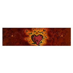 Beautiful Heart With Leaves Satin Scarf (Oblong)