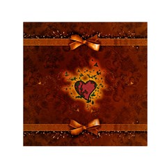 Beautiful Heart With Leaves Small Satin Scarf (Square)