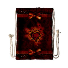 Beautiful Heart With Leaves Drawstring Bag (Small)