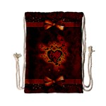 Beautiful Heart With Leaves Drawstring Bag (Small) Back