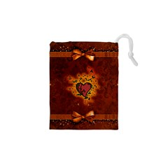 Beautiful Heart With Leaves Drawstring Pouch (XS)