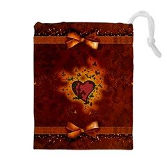 Beautiful Heart With Leaves Drawstring Pouch (XL)