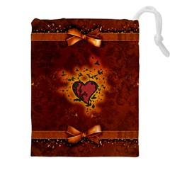 Beautiful Heart With Leaves Drawstring Pouch (2XL)
