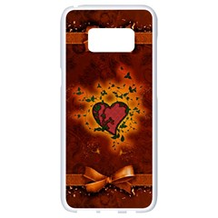 Beautiful Heart With Leaves Samsung Galaxy S8 White Seamless Case