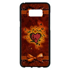 Beautiful Heart With Leaves Samsung Galaxy S8 Plus Black Seamless Case