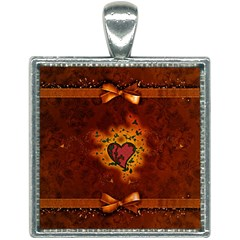 Beautiful Heart With Leaves Square Necklace