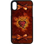 Beautiful Heart With Leaves iPhone XS Seamless Case (Black) Front