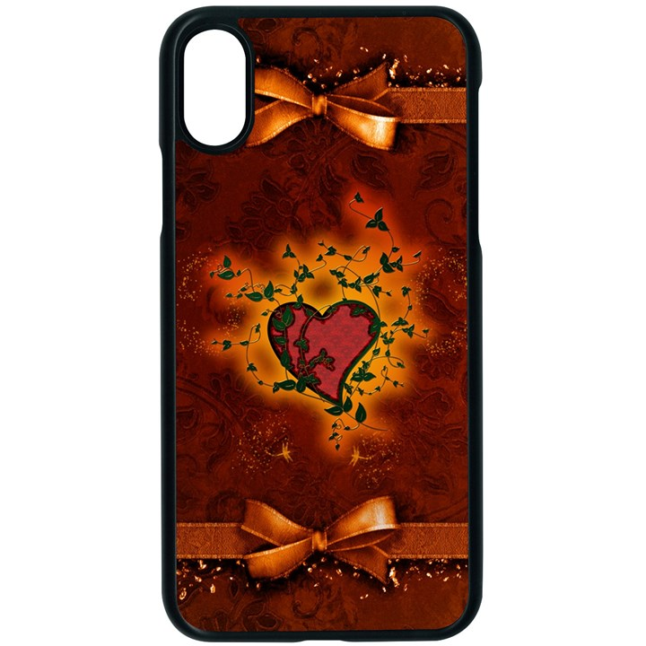 Beautiful Heart With Leaves iPhone XS Seamless Case (Black)