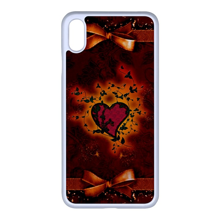 Beautiful Heart With Leaves iPhone XS Max Seamless Case (White)