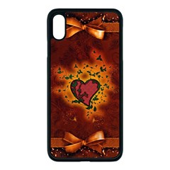 Beautiful Heart With Leaves iPhone XS Max Seamless Case (Black)
