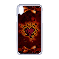 Beautiful Heart With Leaves iPhone XR Seamless Case (White)