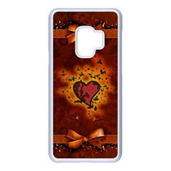 Beautiful Heart With Leaves Samsung Galaxy S9 Seamless Case(White)