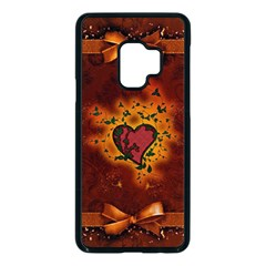 Beautiful Heart With Leaves Samsung Galaxy S9 Seamless Case(Black)