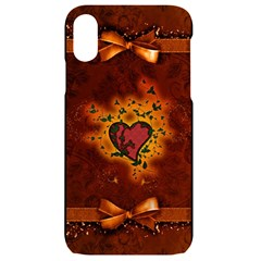 Beautiful Heart With Leaves iPhone XR Black UV Print Case