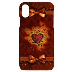 Beautiful Heart With Leaves iPhone X/XS Black UV Print Case