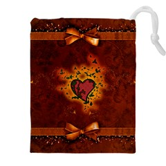Beautiful Heart With Leaves Drawstring Pouch (3XL)
