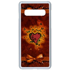 Beautiful Heart With Leaves Samsung Galaxy S10 Seamless Case(White)