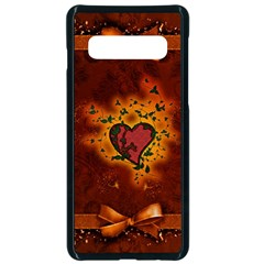 Beautiful Heart With Leaves Samsung Galaxy S10 Seamless Case(Black)