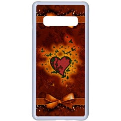 Beautiful Heart With Leaves Samsung Galaxy S10 Plus Seamless Case(White)