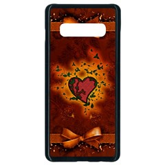 Beautiful Heart With Leaves Samsung Galaxy S10 Plus Seamless Case (Black)