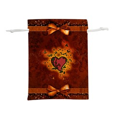 Beautiful Heart With Leaves Lightweight Drawstring Pouch (L)