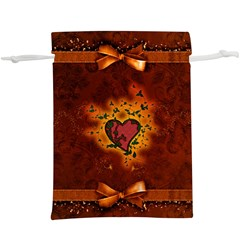 Beautiful Heart With Leaves  Lightweight Drawstring Pouch (XL)