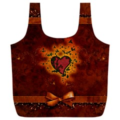 Beautiful Heart With Leaves Full Print Recycle Bag (XXL)