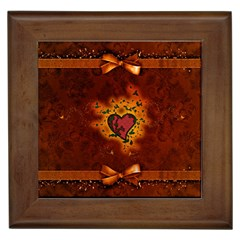 Beautiful Heart With Leaves Framed Tile