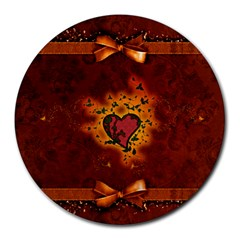 Beautiful Heart With Leaves Round Mousepads