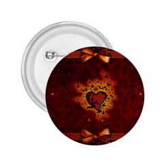 Beautiful Heart With Leaves 2.25  Buttons