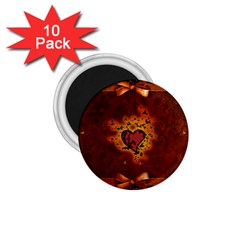 Beautiful Heart With Leaves 1.75  Magnets (10 pack)
