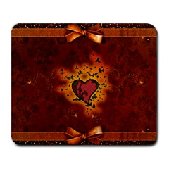 Beautiful Heart With Leaves Large Mousepads