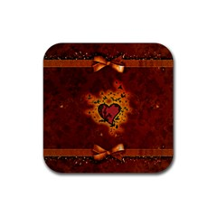 Beautiful Heart With Leaves Rubber Coaster (Square)